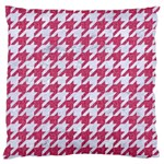 HOUNDSTOOTH1 WHITE MARBLE & PINK DENIM Large Flano Cushion Case (Two Sides) Front