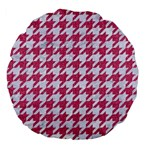 HOUNDSTOOTH1 WHITE MARBLE & PINK DENIM Large 18  Premium Flano Round Cushions Front