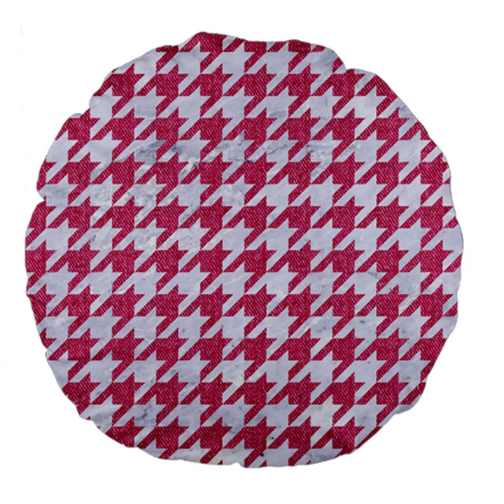 HOUNDSTOOTH1 WHITE MARBLE & PINK DENIM Large 18  Premium Flano Round Cushions