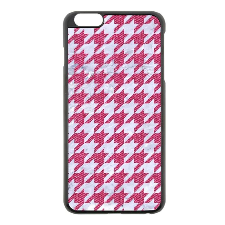 HOUNDSTOOTH1 WHITE MARBLE & PINK DENIM Apple iPhone 6 Plus/6S Plus Black Enamel Case