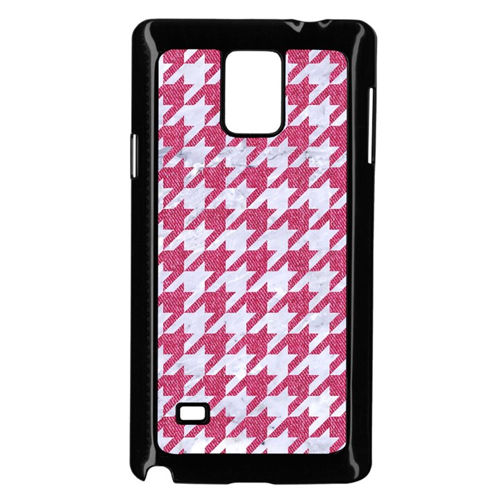 HOUNDSTOOTH1 WHITE MARBLE & PINK DENIM Samsung Galaxy Note 4 Case (Black)