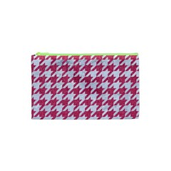 Houndstooth1 White Marble & Pink Denim Cosmetic Bag (xs)