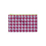 HOUNDSTOOTH1 WHITE MARBLE & PINK DENIM Cosmetic Bag (XS) Front