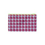 HOUNDSTOOTH1 WHITE MARBLE & PINK DENIM Cosmetic Bag (XS) Back