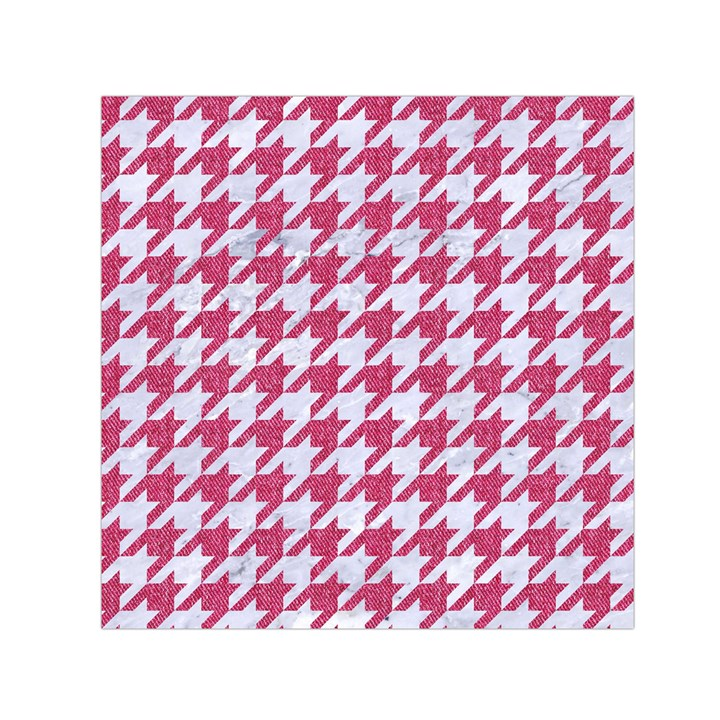 HOUNDSTOOTH1 WHITE MARBLE & PINK DENIM Small Satin Scarf (Square)