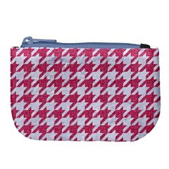 Houndstooth1 White Marble & Pink Denim Large Coin Purse