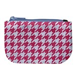 HOUNDSTOOTH1 WHITE MARBLE & PINK DENIM Large Coin Purse Front
