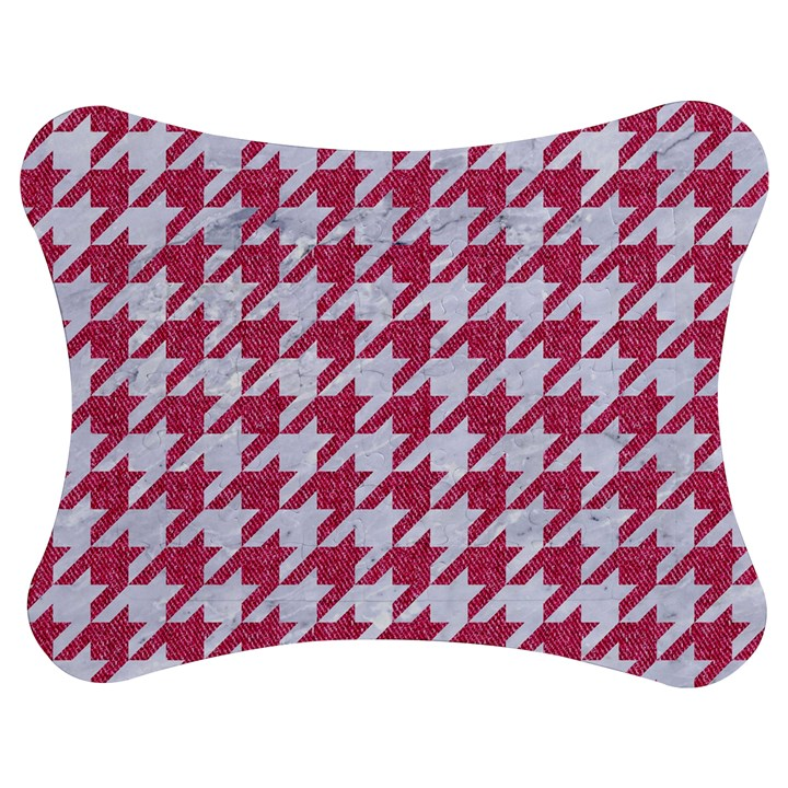 HOUNDSTOOTH1 WHITE MARBLE & PINK DENIM Jigsaw Puzzle Photo Stand (Bow)