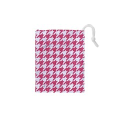 Houndstooth1 White Marble & Pink Denim Drawstring Pouches (xs)