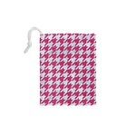 HOUNDSTOOTH1 WHITE MARBLE & PINK DENIM Drawstring Pouches (XS)  Back