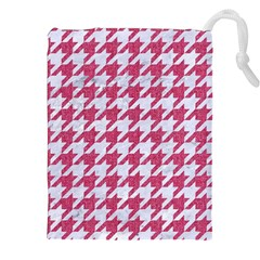 Houndstooth1 White Marble & Pink Denim Drawstring Pouches (xxl)