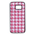 HOUNDSTOOTH1 WHITE MARBLE & PINK DENIM Samsung Galaxy S7 Black Seamless Case Front