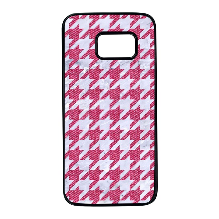 HOUNDSTOOTH1 WHITE MARBLE & PINK DENIM Samsung Galaxy S7 Black Seamless Case