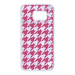 Houndstooth1 White Marble & Pink Denim Samsung Galaxy S7 White Seamless Case