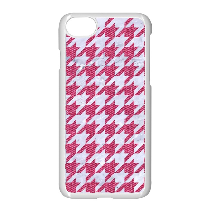 HOUNDSTOOTH1 WHITE MARBLE & PINK DENIM Apple iPhone 8 Seamless Case (White)