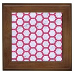 HEXAGON2 WHITE MARBLE & PINK DENIM (R) Framed Tiles Front