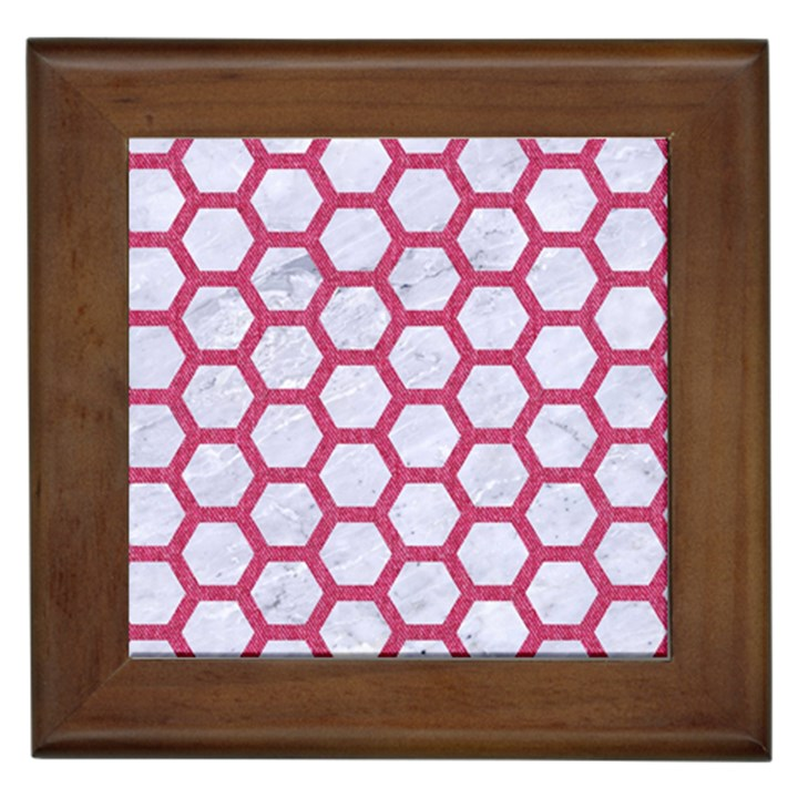 HEXAGON2 WHITE MARBLE & PINK DENIM (R) Framed Tiles
