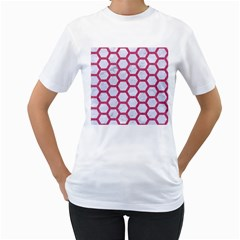 Hexagon2 White Marble & Pink Denim (r) Women s T Shirt (white) (two Sided)