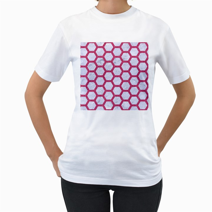 HEXAGON2 WHITE MARBLE & PINK DENIM (R) Women s T-Shirt (White) (Two Sided)