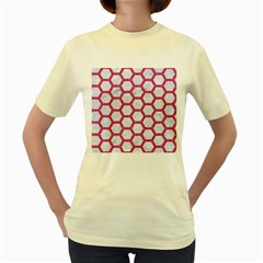 Hexagon2 White Marble & Pink Denim (r) Women s Yellow T Shirt