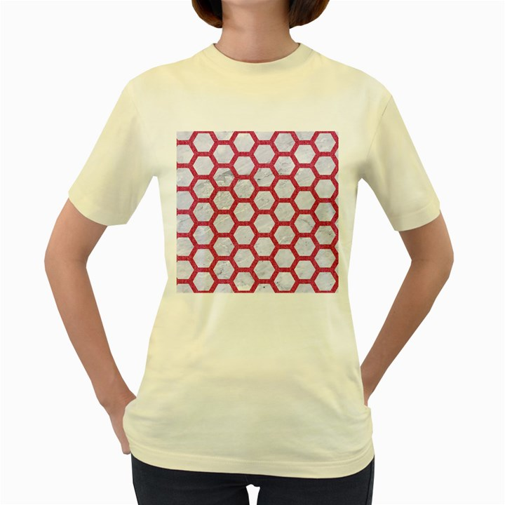 HEXAGON2 WHITE MARBLE & PINK DENIM (R) Women s Yellow T-Shirt