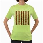 HEXAGON2 WHITE MARBLE & PINK DENIM (R) Women s Green T-Shirt Front