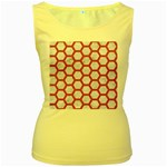 HEXAGON2 WHITE MARBLE & PINK DENIM (R) Women s Yellow Tank Top Front