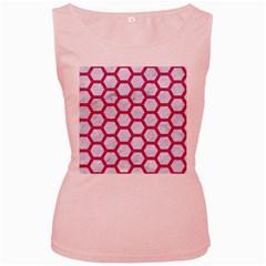 HEXAGON2 WHITE MARBLE & PINK DENIM (R) Women s Pink Tank Top