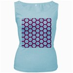 HEXAGON2 WHITE MARBLE & PINK DENIM (R) Women s Baby Blue Tank Top Front
