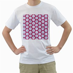 Hexagon2 White Marble & Pink Denim (r) Men s T Shirt (white) (two Sided)