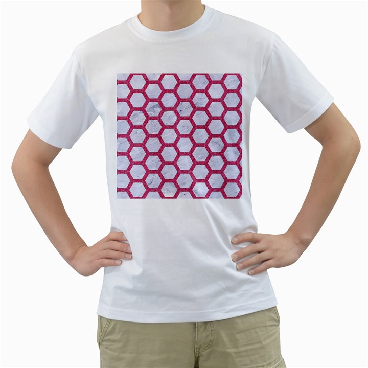HEXAGON2 WHITE MARBLE & PINK DENIM (R) Men s T-Shirt (White) (Two Sided)