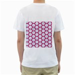 HEXAGON2 WHITE MARBLE & PINK DENIM (R) Men s T-Shirt (White) (Two Sided) Back