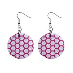HEXAGON2 WHITE MARBLE & PINK DENIM (R) Mini Button Earrings Front