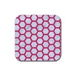 HEXAGON2 WHITE MARBLE & PINK DENIM (R) Rubber Coaster (Square)  Front