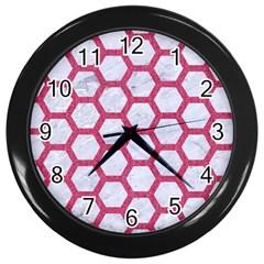 HEXAGON2 WHITE MARBLE & PINK DENIM (R) Wall Clocks (Black)