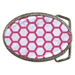 HEXAGON2 WHITE MARBLE & PINK DENIM (R) Belt Buckles Front