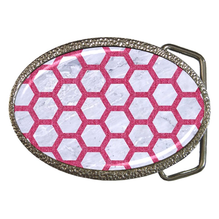 HEXAGON2 WHITE MARBLE & PINK DENIM (R) Belt Buckles