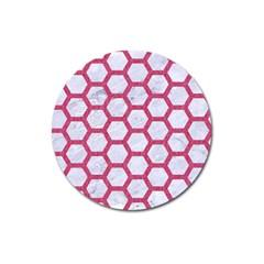 Hexagon2 White Marble & Pink Denim (r) Magnet 3  (round) by trendistuff