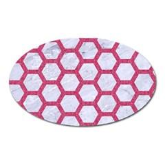 Hexagon2 White Marble & Pink Denim (r) Oval Magnet by trendistuff