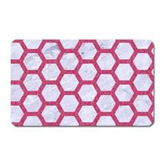 Hexagon2 White Marble & Pink Denim (r) Magnet (rectangular)