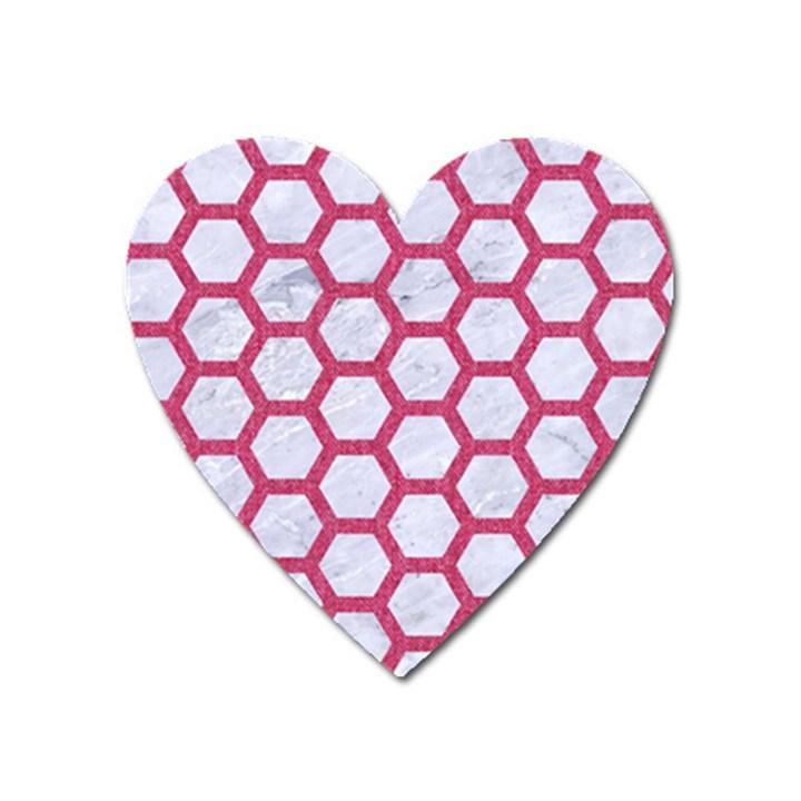 HEXAGON2 WHITE MARBLE & PINK DENIM (R) Heart Magnet
