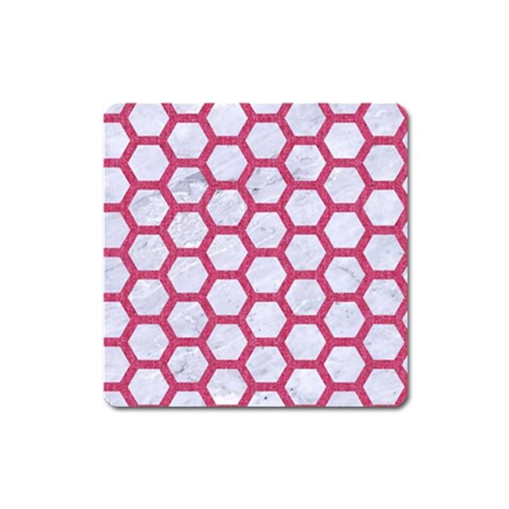 HEXAGON2 WHITE MARBLE & PINK DENIM (R) Square Magnet