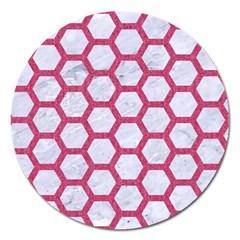 Hexagon2 White Marble & Pink Denim (r) Magnet 5  (round) by trendistuff