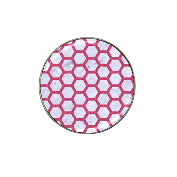 HEXAGON2 WHITE MARBLE & PINK DENIM (R) Hat Clip Ball Marker