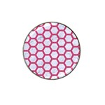 HEXAGON2 WHITE MARBLE & PINK DENIM (R) Hat Clip Ball Marker (4 pack) Front