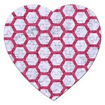 HEXAGON2 WHITE MARBLE & PINK DENIM (R) Jigsaw Puzzle (Heart) Front