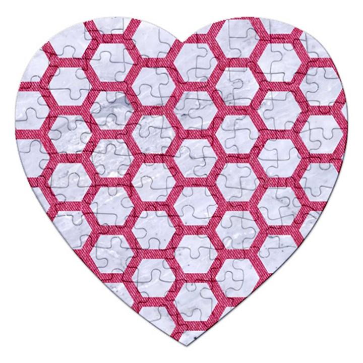HEXAGON2 WHITE MARBLE & PINK DENIM (R) Jigsaw Puzzle (Heart)