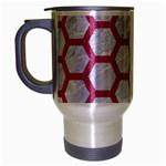 HEXAGON2 WHITE MARBLE & PINK DENIM (R) Travel Mug (Silver Gray) Left
