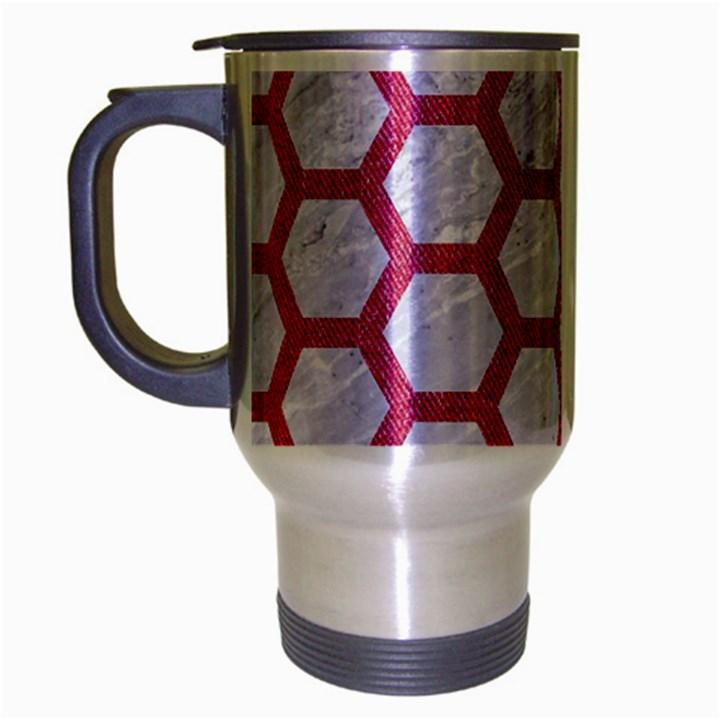 HEXAGON2 WHITE MARBLE & PINK DENIM (R) Travel Mug (Silver Gray)
