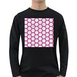 HEXAGON2 WHITE MARBLE & PINK DENIM (R) Long Sleeve Dark T-Shirts Front